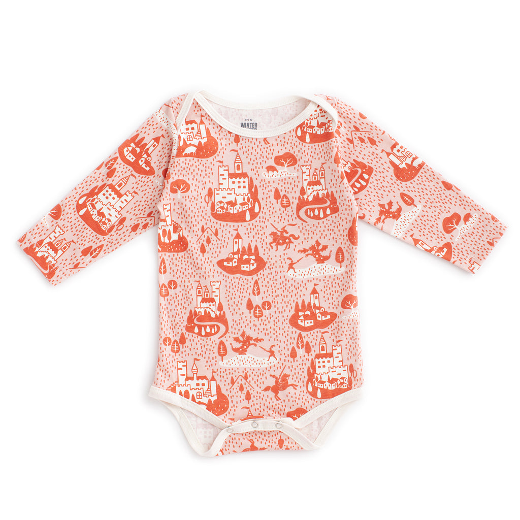 Long Sleeve Snapsuit - Castles & Villages Pink & Orange