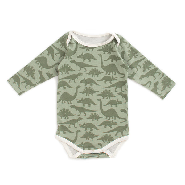 Long Sleeve Snapsuit - Dinosaurs Sage