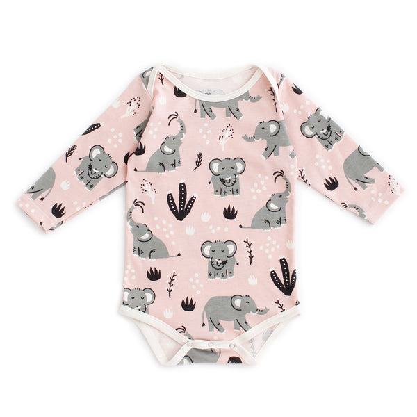 Long Sleeve Snapsuit - Elephants Pink