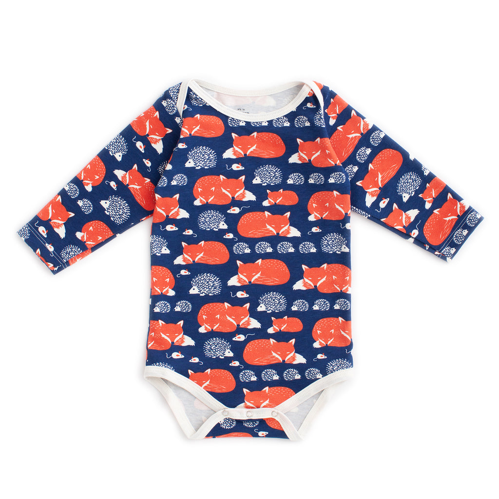 Long Sleeve Snapsuit - Foxes & Hedgehogs Navy & Orange