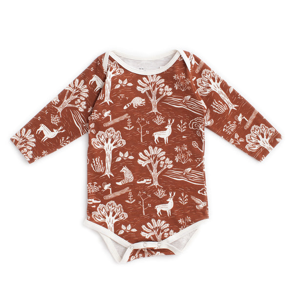 Long Sleeve Snapsuit - In The Forest Chestnut