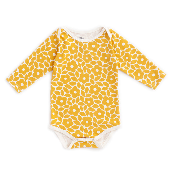 Long Sleeve Snapsuit - Marrakesh Floral Yellow