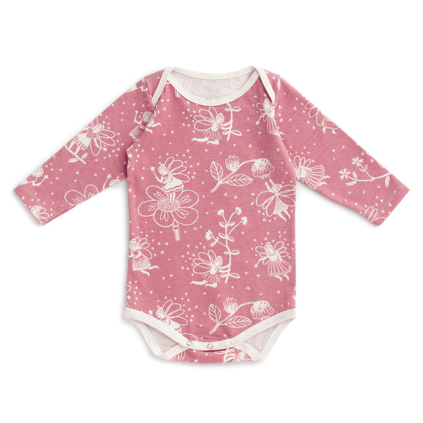 Long Sleeve Snapsuit - Fairies Dusty Pink