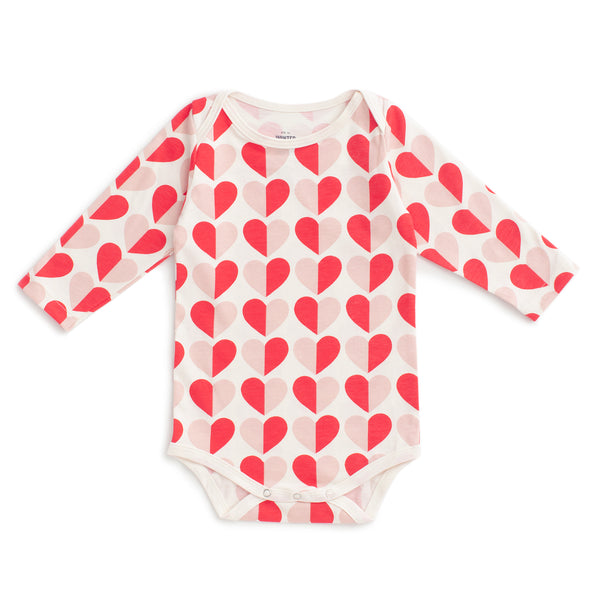Long Sleeve Snapsuit - Hearts Red & Pink