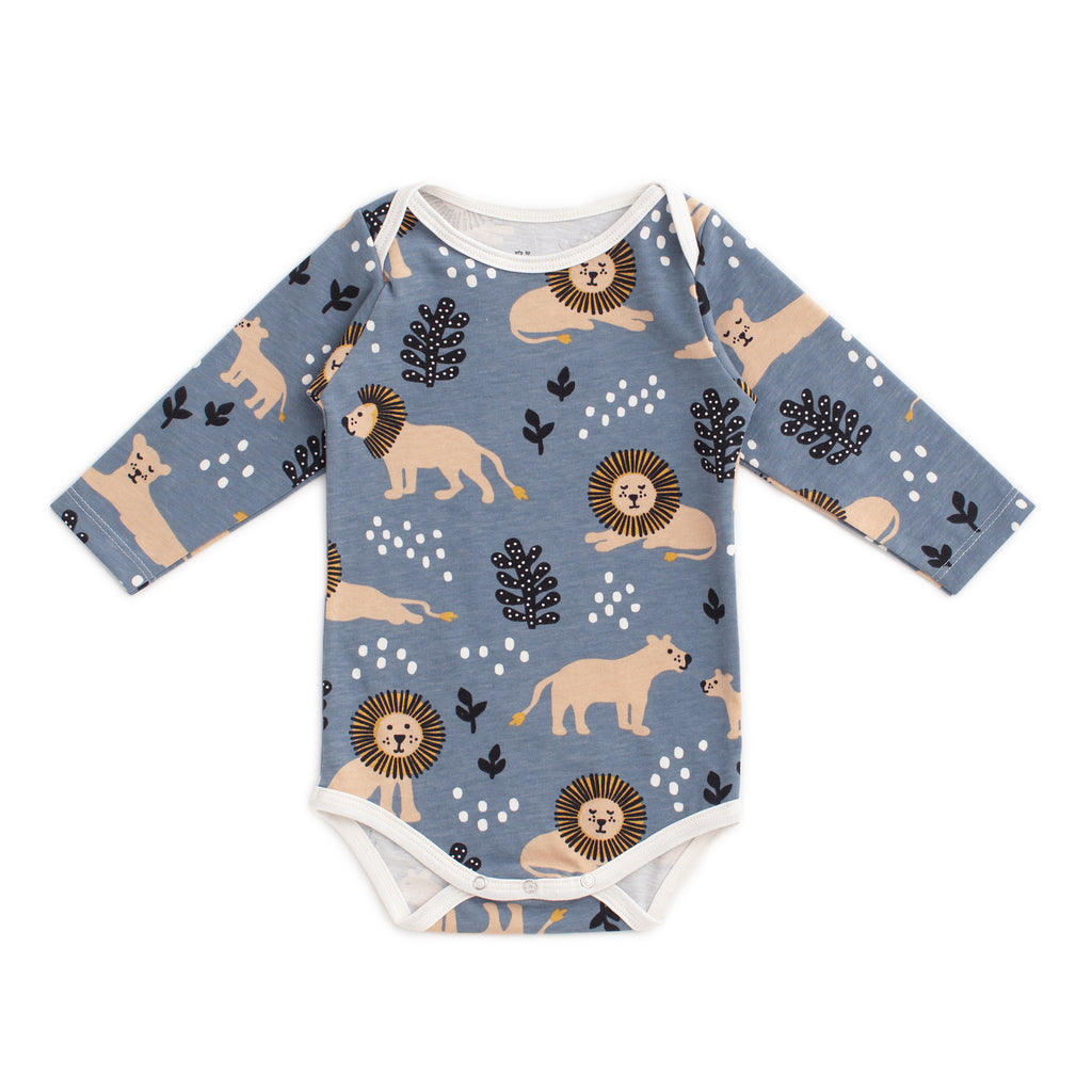Long Sleeve Snapsuit - Lions Slate Blue