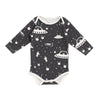 Long Sleeve Snapsuit - Outer Space Charcoal