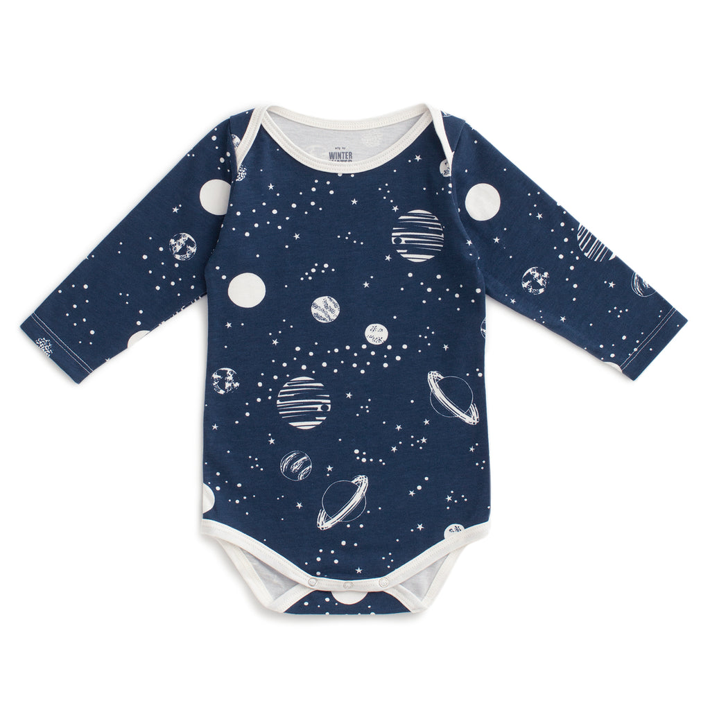 Long Sleeve Snapsuit - Planets Night Sky