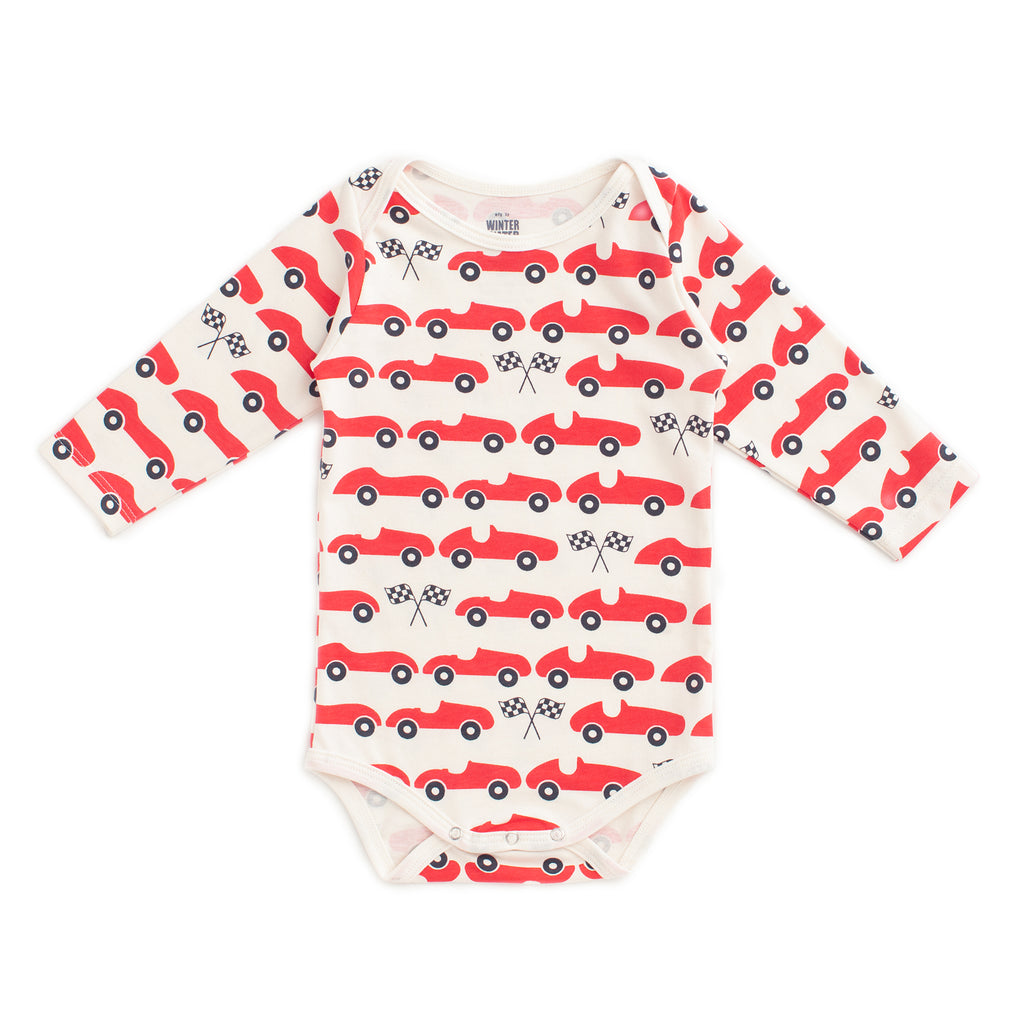 Long Sleeve Snapsuit - Race Cars Red