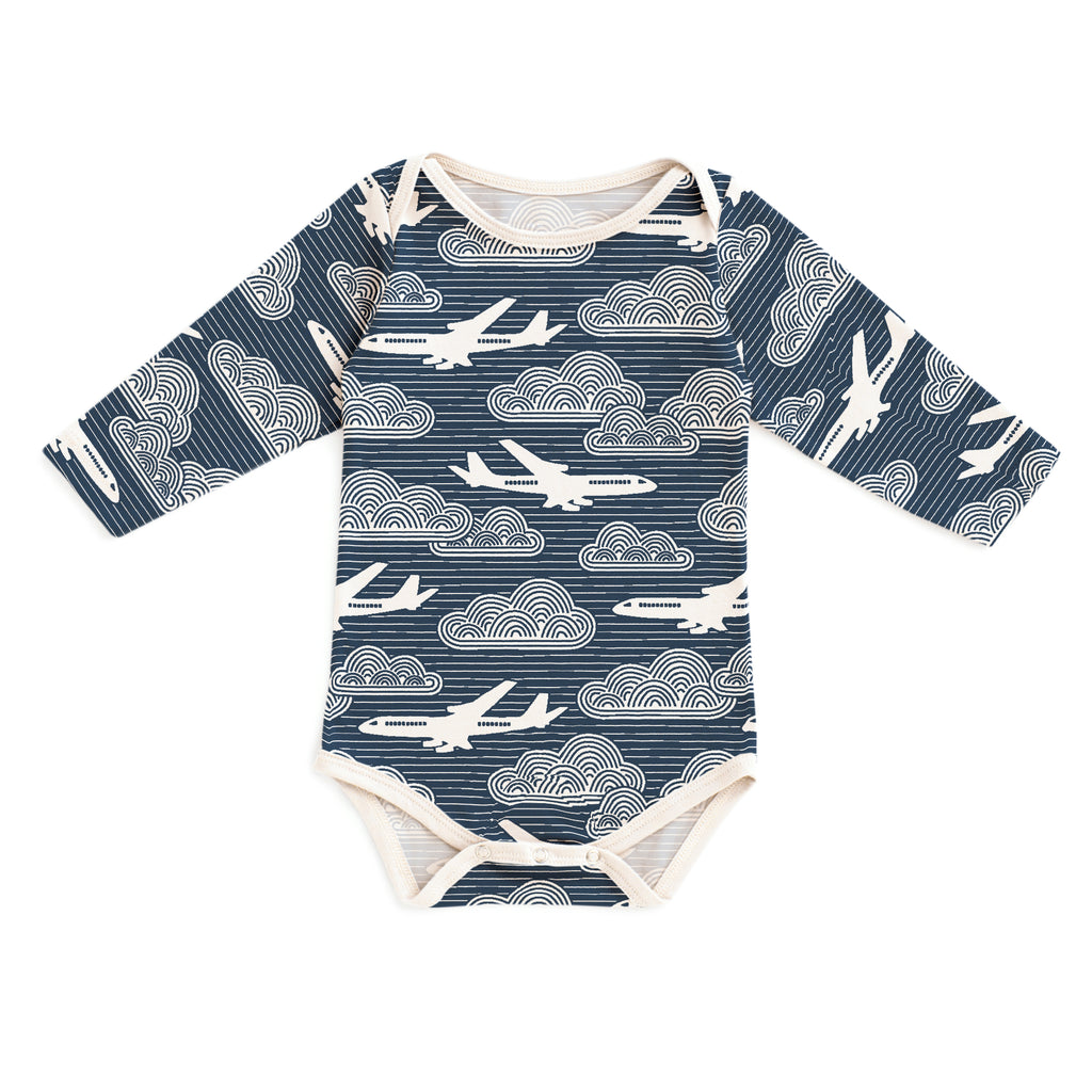Long Sleeve Snapsuit - In the Clouds Navy