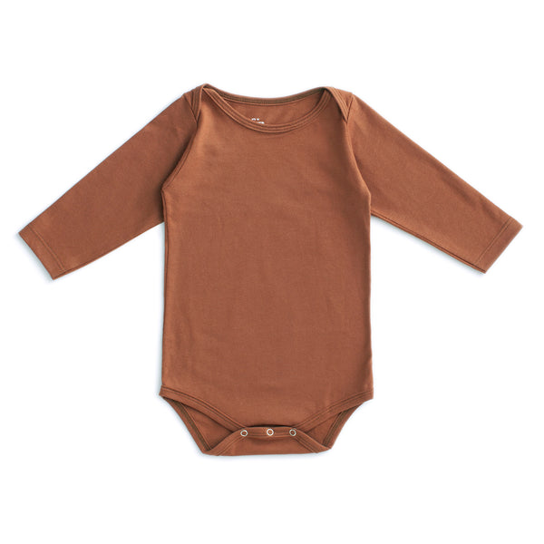 Long Sleeve Snapsuit - Solid Chestnut