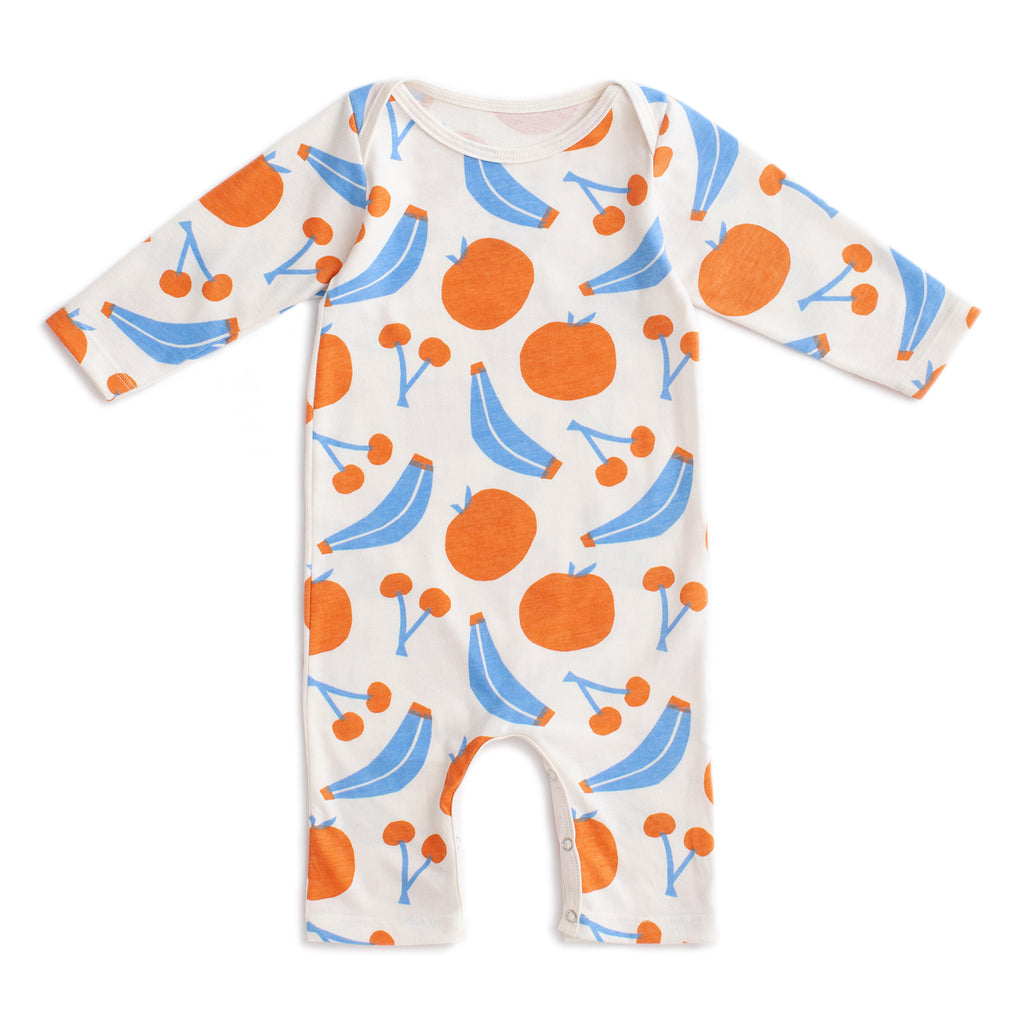 Long-Sleeve Romper - Yummy Fruit Blue & Orange