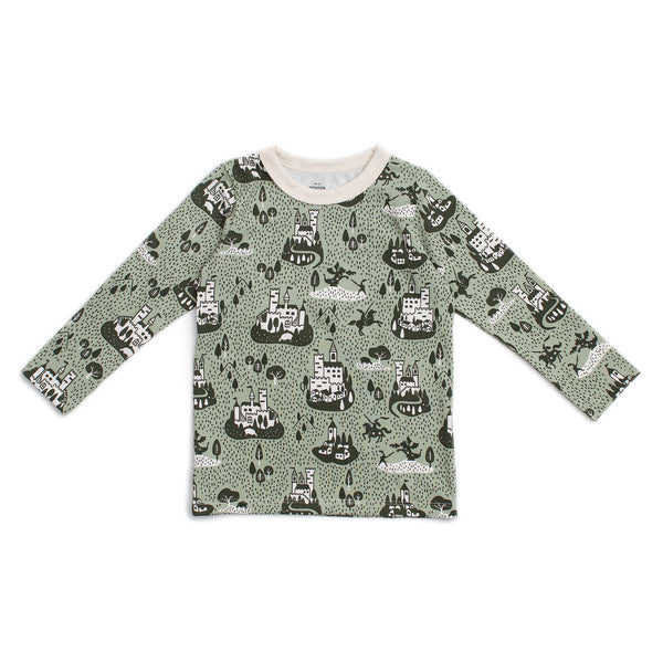 Long-Sleeve Tee - Castles & Villages Sage & Forest Green