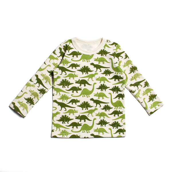Long-Sleeve Tee - Dinosaurs Green