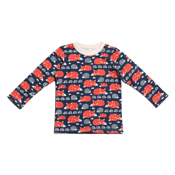 Long-Sleeve Tee - Foxes & Hedgehogs Navy & Orange