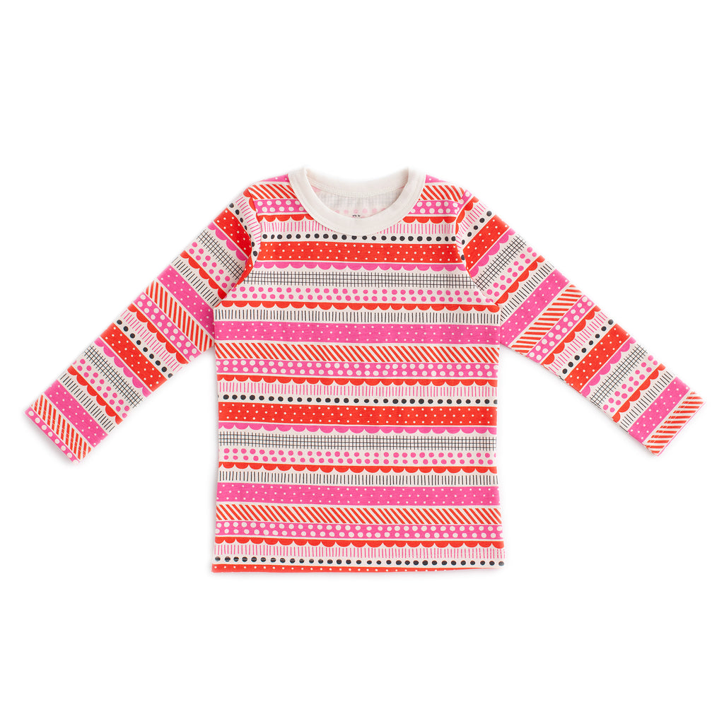 Long-Sleeve Tee - Geo Stripes Pink