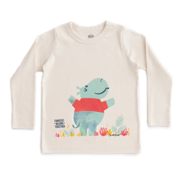 Families Belong Together x WWF Long Sleeve Tee - Hippo by Jacob Grant