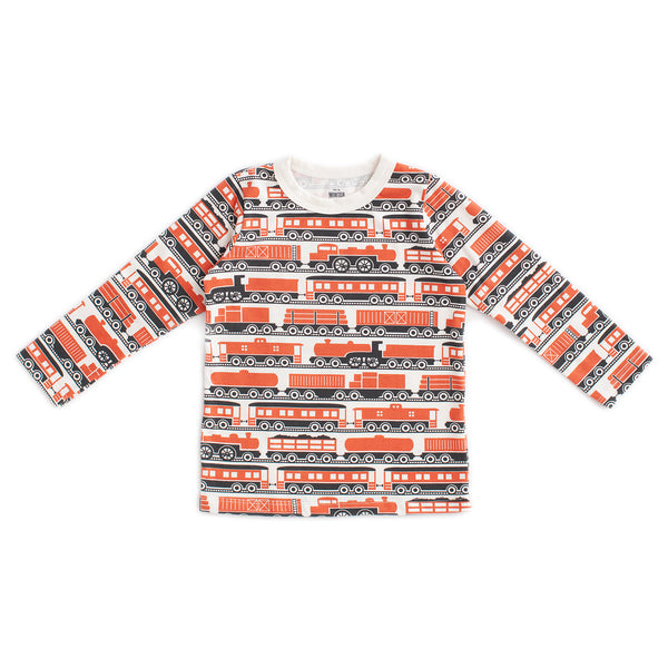 Long-Sleeve Tee - Trains Orange