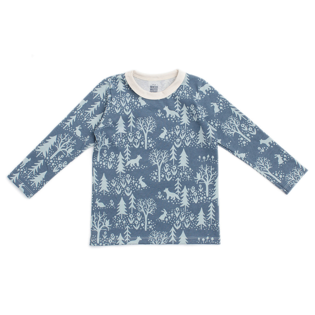 Long-Sleeve Tee - Winter Scenic Slate Blue