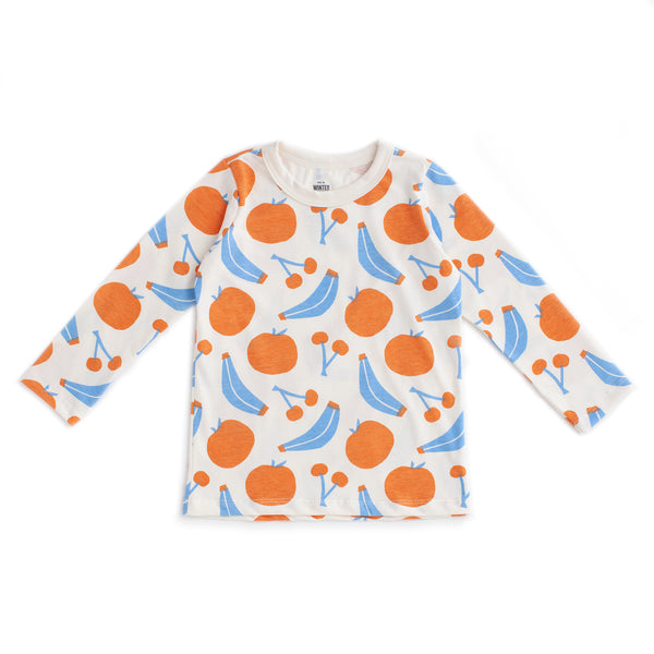 Long-Sleeve Tee - Yummy Fruit Blue & Orange