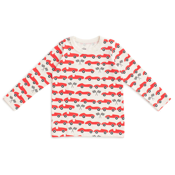 Long-Sleeve Tee - Race Cars Red