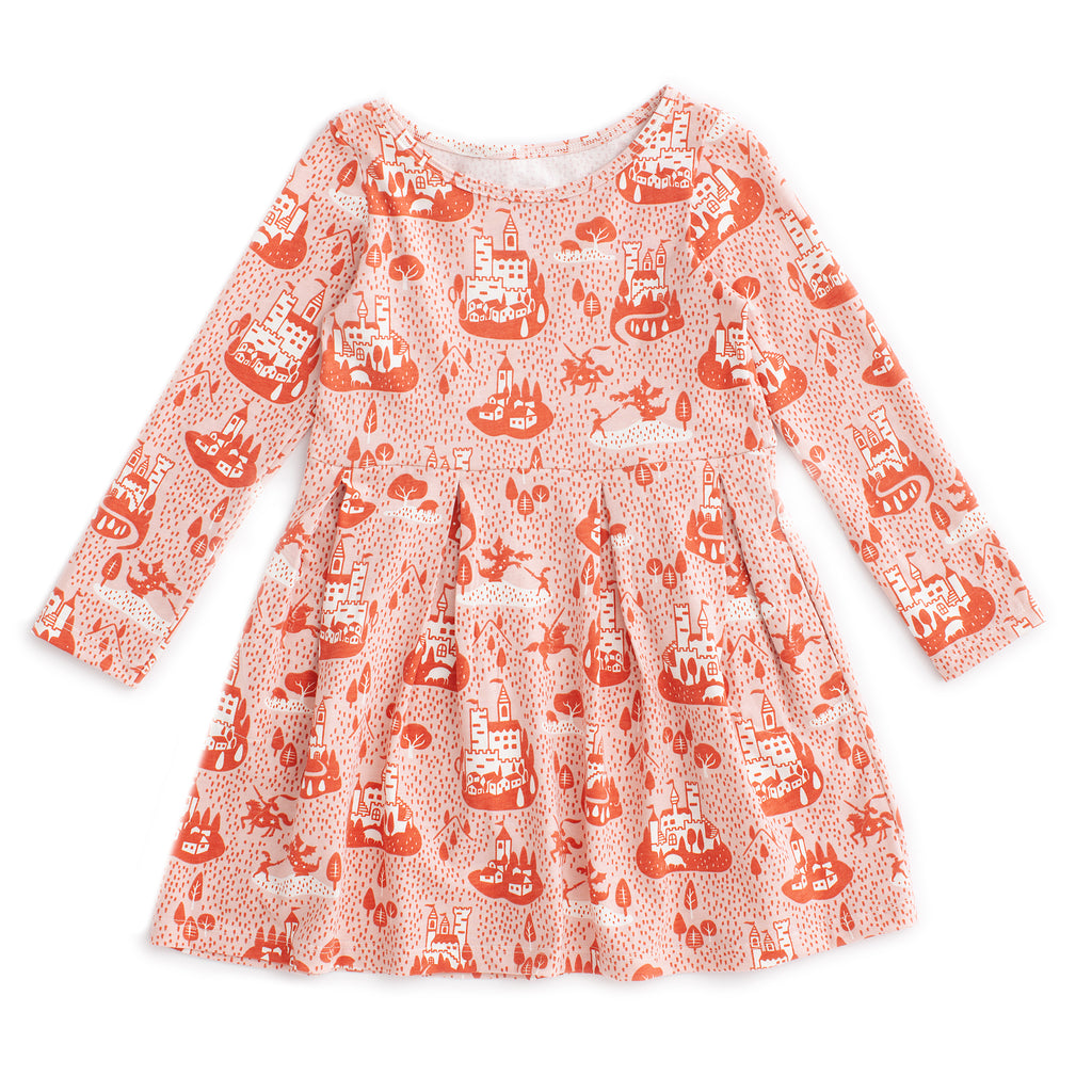 Madison Dress - Castles & Villages Pink & Orange