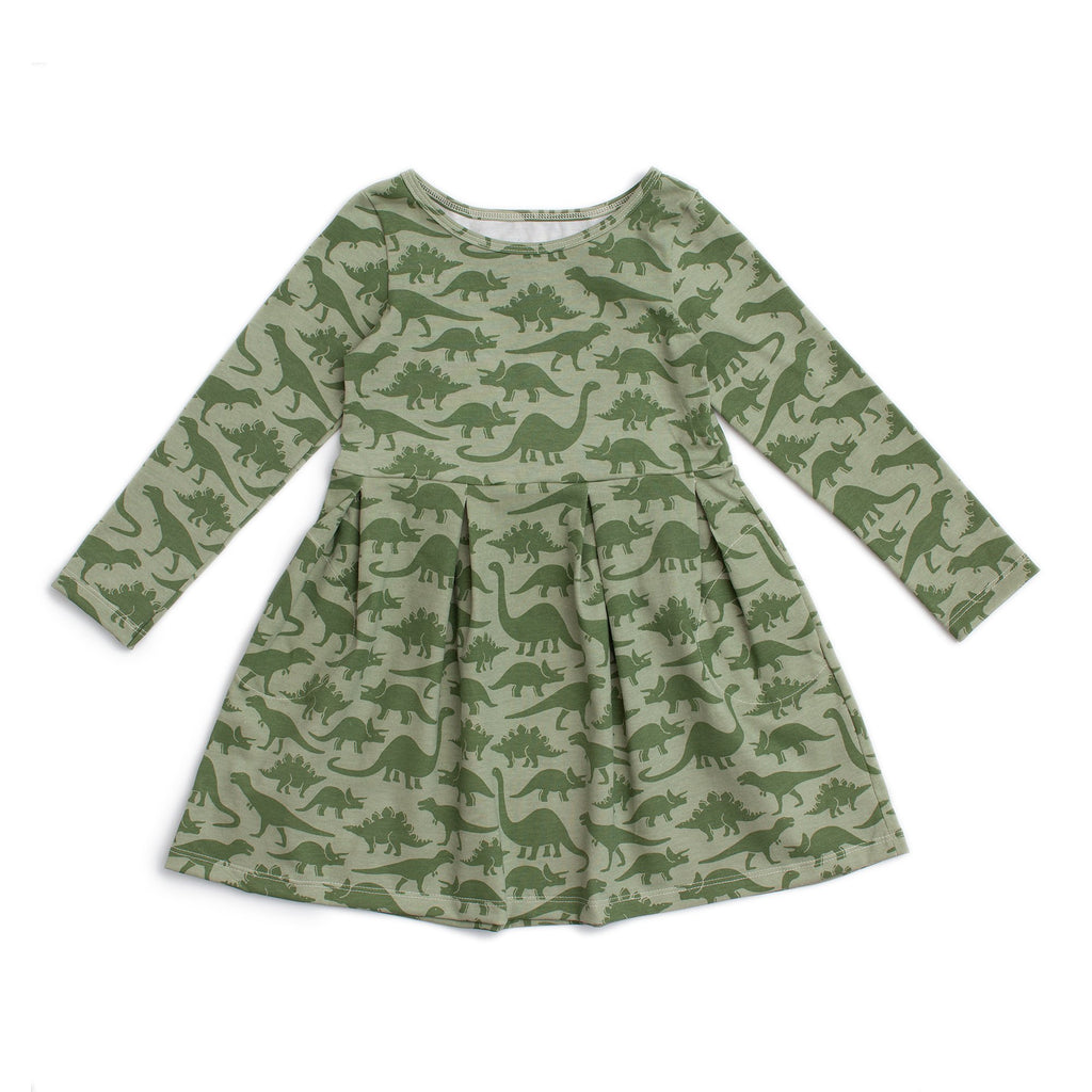 Madison Dress - Dinosaurs Sage