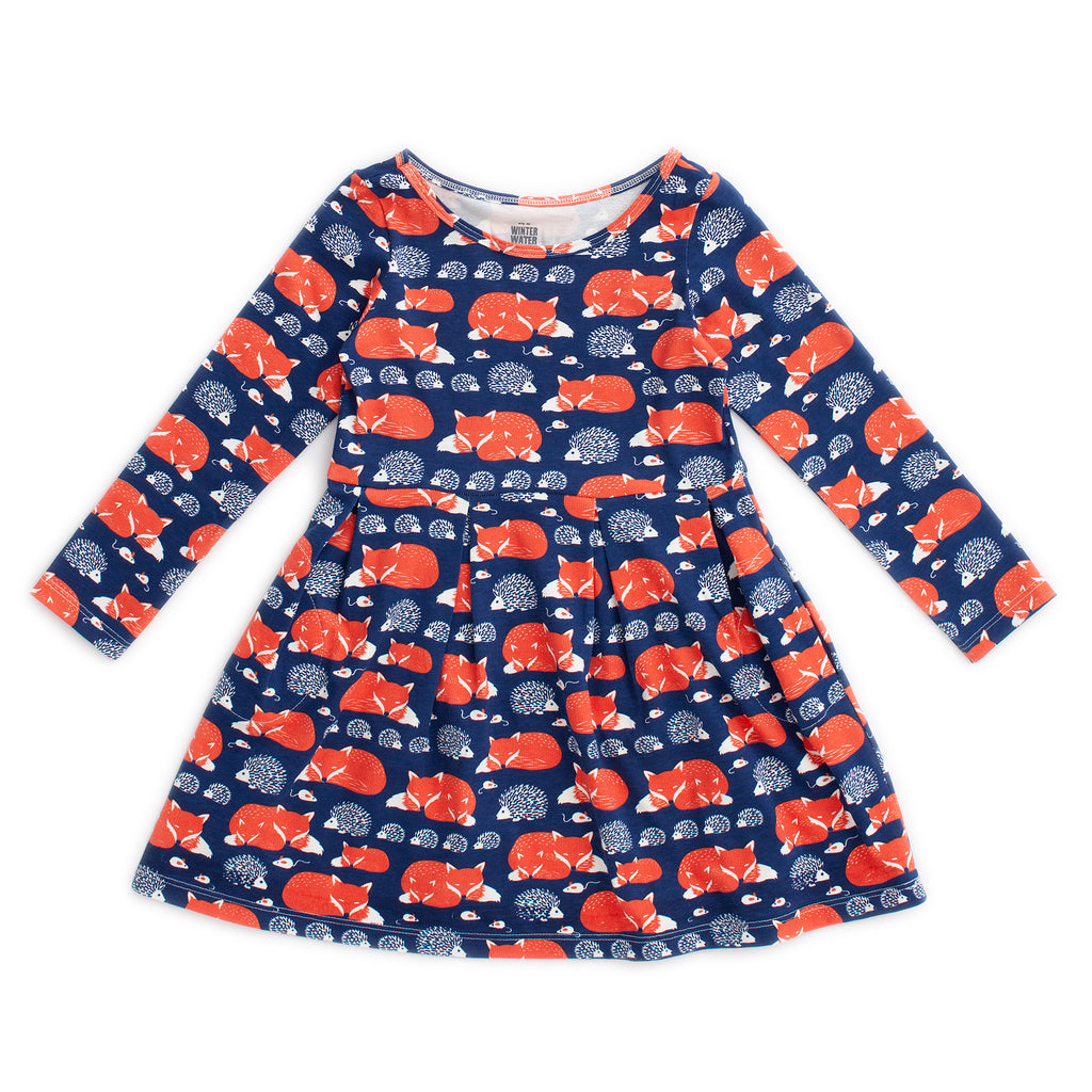 Madison Dress - Foxes & Hedgehogs Navy & Orange
