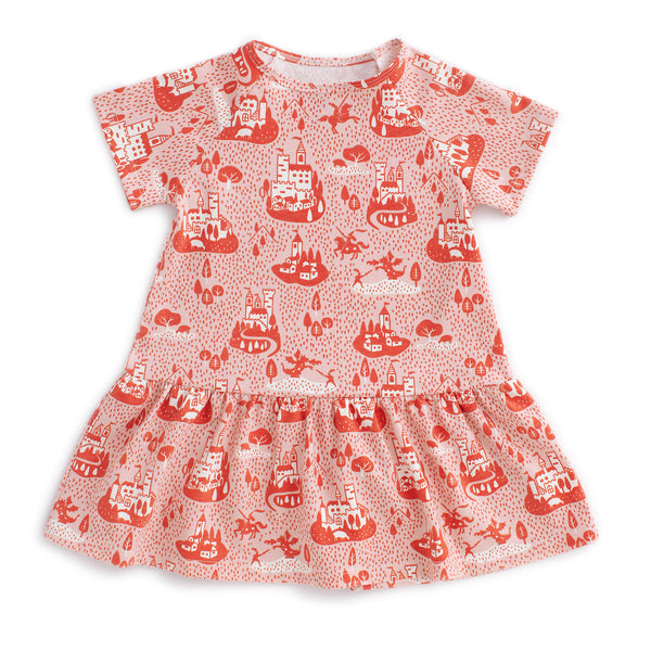 Milwaukee Dress - Castles & Villages Pink & Orange