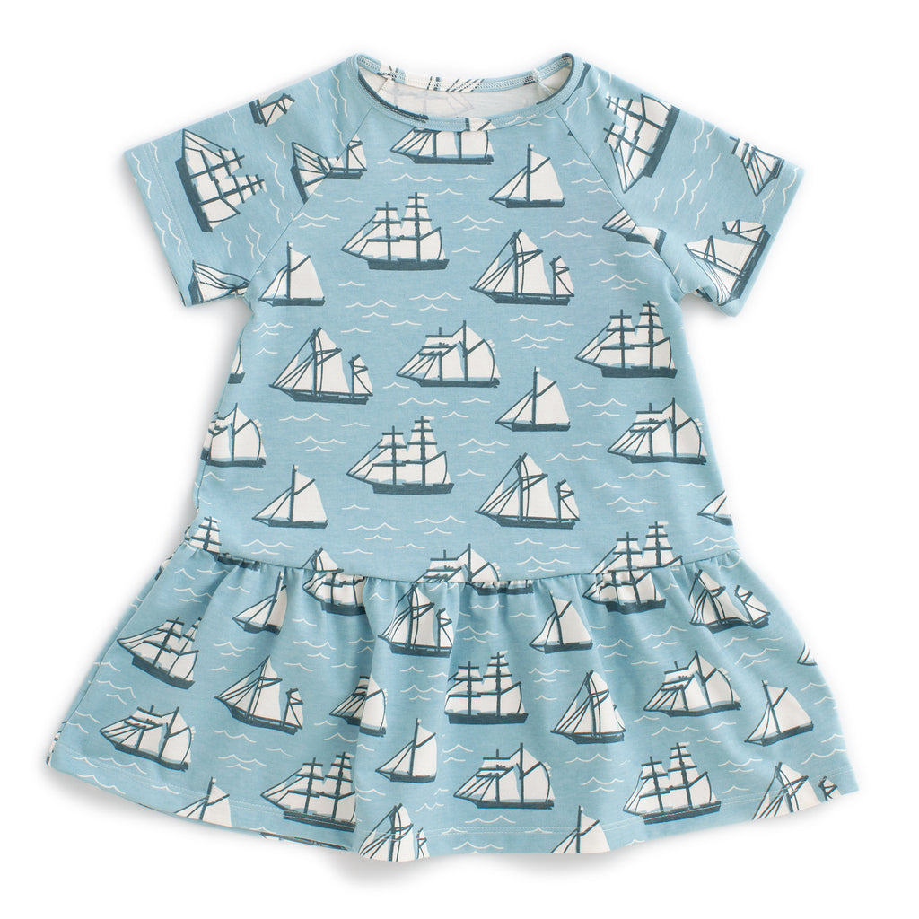 Milwaukee Dress - Vintage Sailboats Ocean Blue & Teal