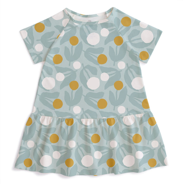 Milwaukee Dress - Dahlias Pale Blue