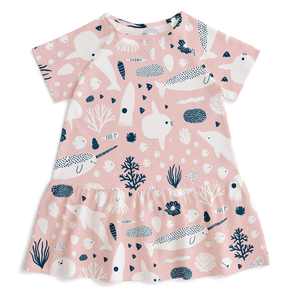 Milwaukee Dress - Sea Creatures Blush Pink & Navy