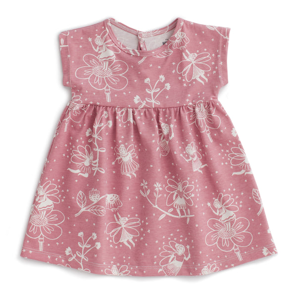 Merano Baby Dress - Fairies Dusty Pink