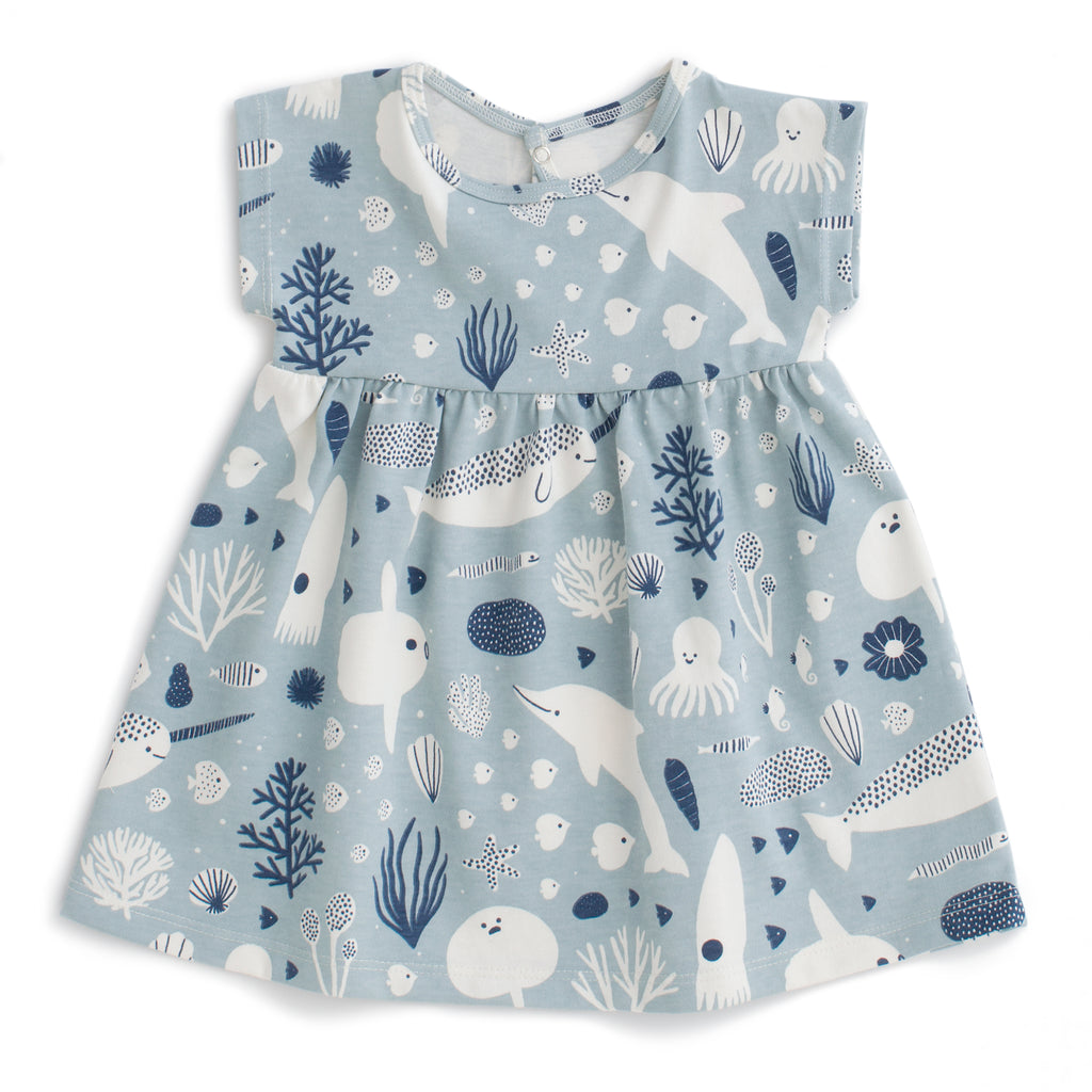 Merano Baby Dress - Sea Creatures Pale Blue & Navy