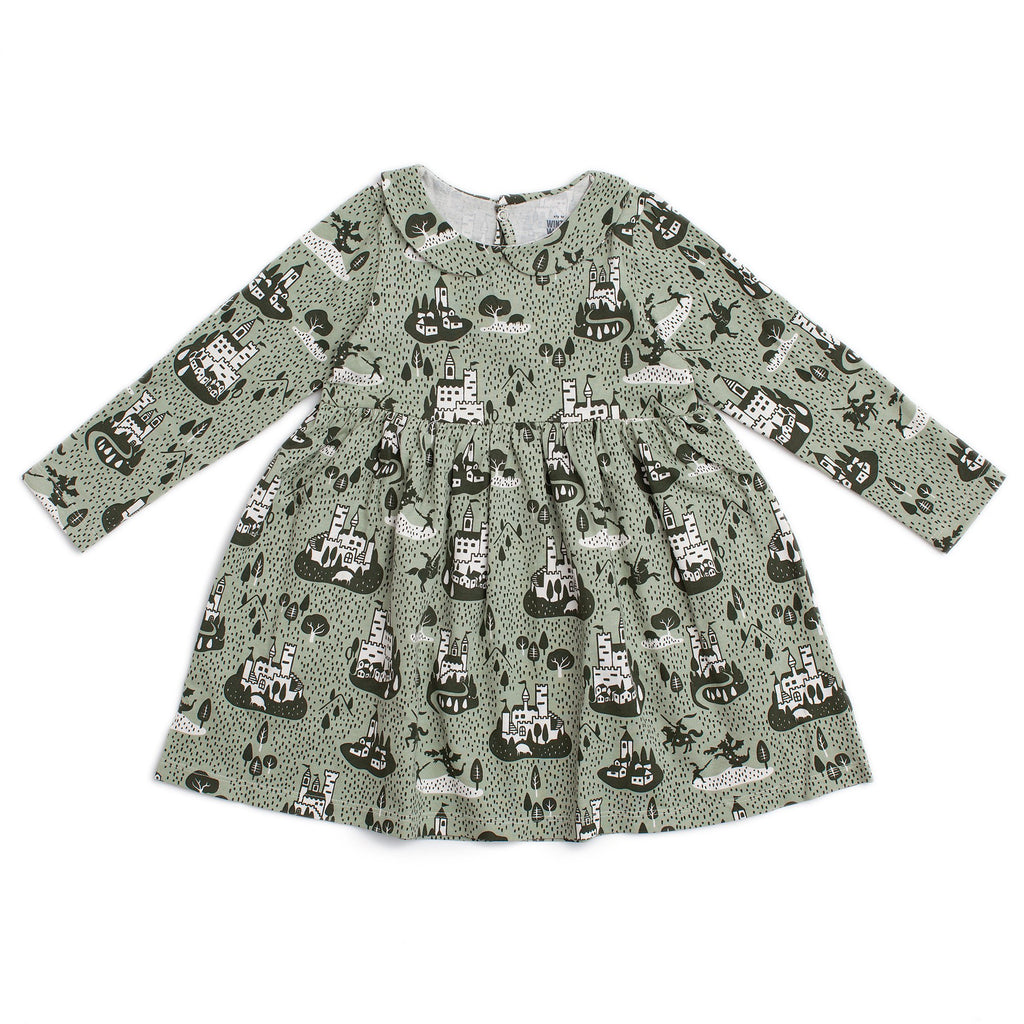 Nashville Dress - Castles & Villages Sage & Forest Green