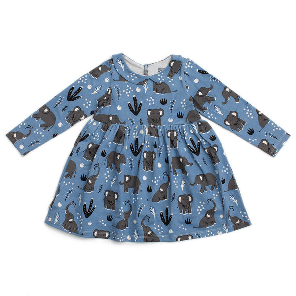 Nashville Dress - Elephants Blue
