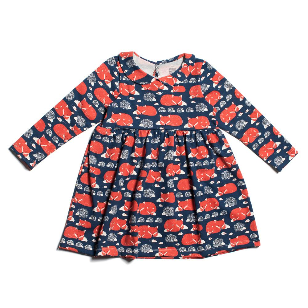 Nashville Dress - Foxes & Hedgehogs Navy & Orange