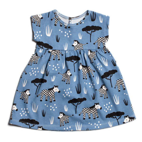 Merano Baby Dress - Zebras Blue