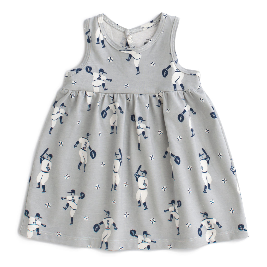Oslo Baby Dress - Baseball Grey & Midnight Blue
