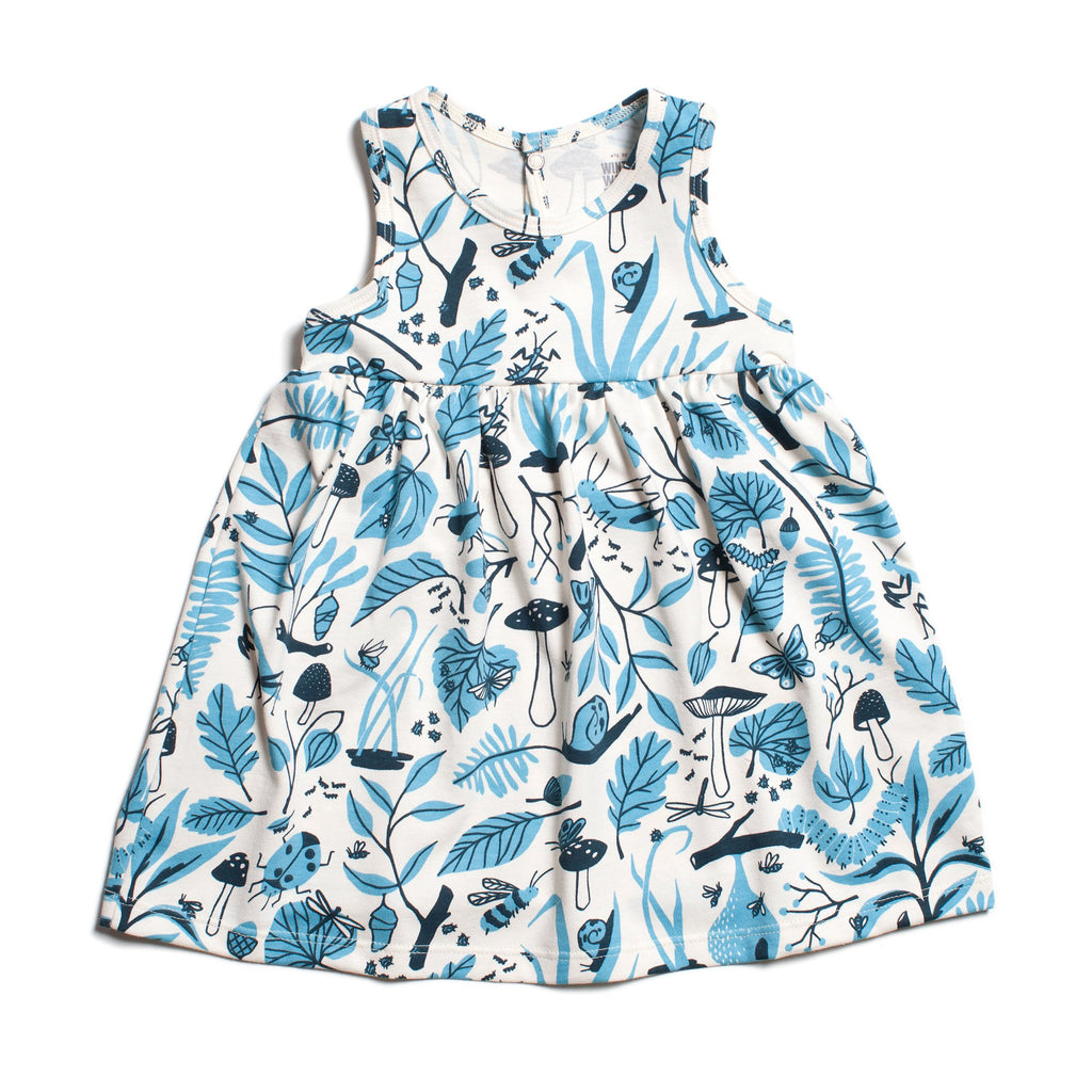 Oslo Baby Dress - Leaves & Bugs Blue