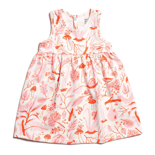Oslo Baby Dress - Leaves & Bugs Red & Pink