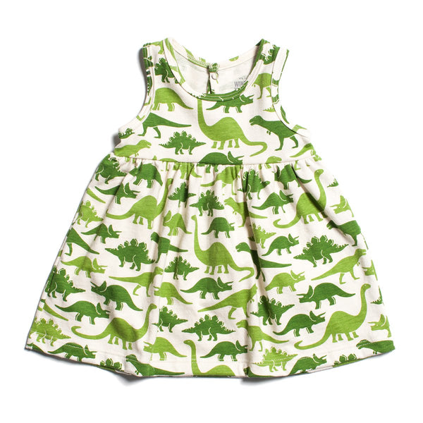 Oslo Baby Dress - Dinosaurs Green