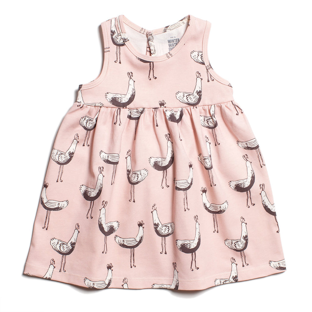 Oslo Baby Dress - Bird Parade Pink