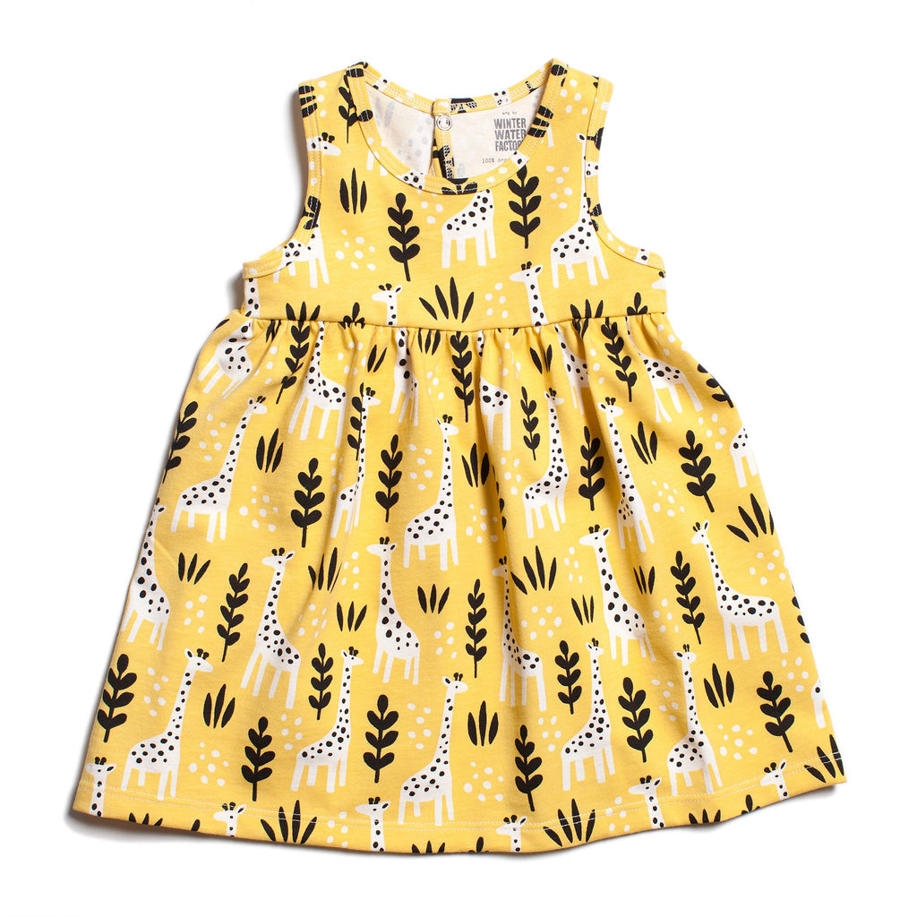 Oslo Baby Dress - Giraffes Yellow