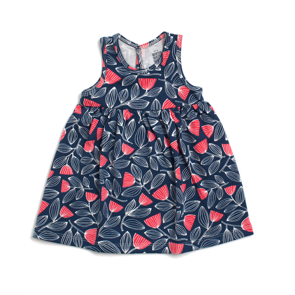 Oslo Baby Dress - Holland Floral Navy & Coral