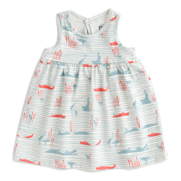 Oslo Baby Dress - Hippos & Crocodiles Ocean Blue & Coral