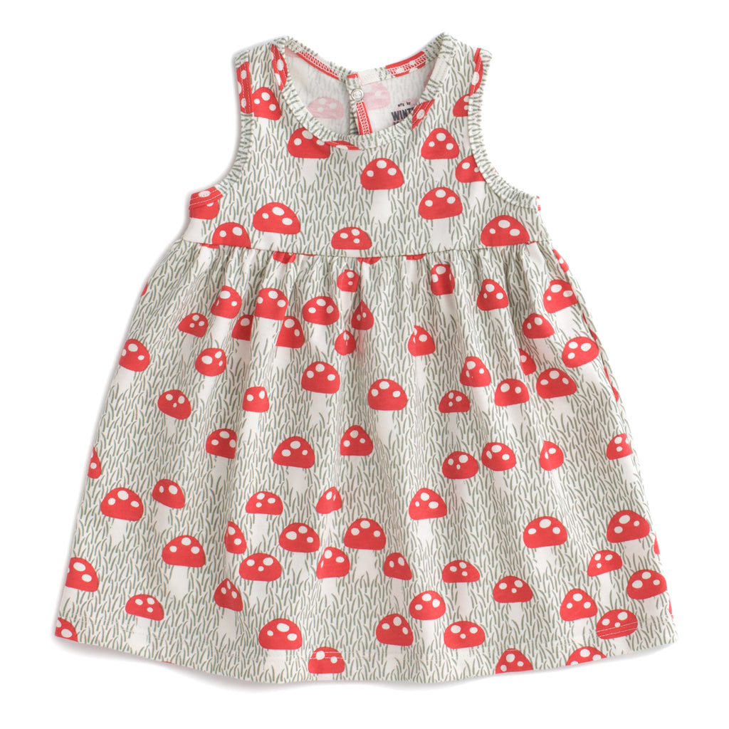 Oslo Baby Dress - Mushrooms Sage