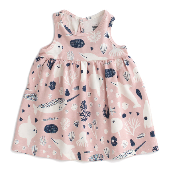 Oslo Baby Dress - Sea Creatures Blush Pink & Navy