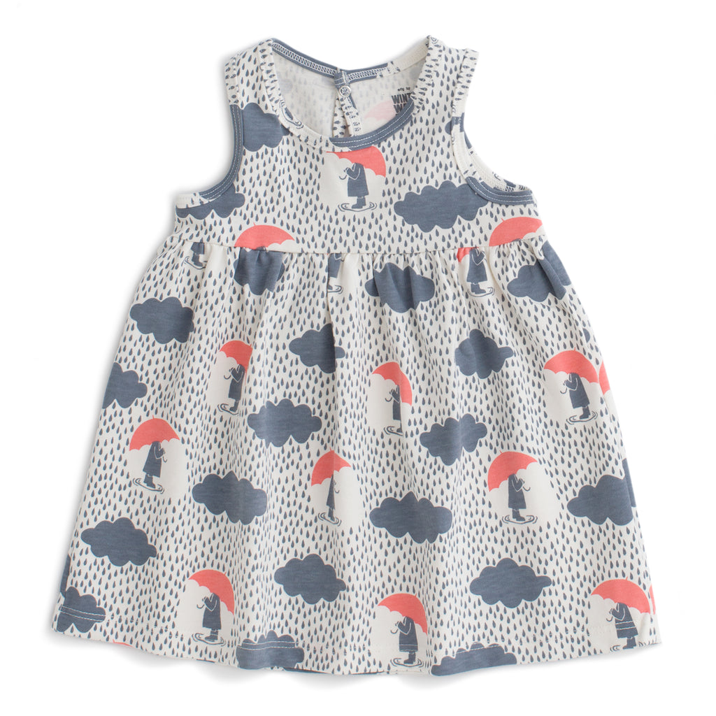 Oslo Baby Dress - Summer Rain Slate Blue & Coral