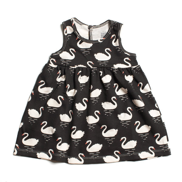 Oslo Baby Dress - Swans Black