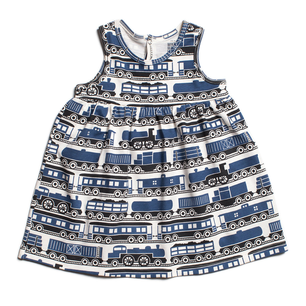 Oslo Baby Dress - Trains Navy